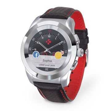 Picture of MYKRONOZ ZETIME PREMIUM LINE POLISHED SILVER/BLACK CARBON RED STITCHING Smartwatch