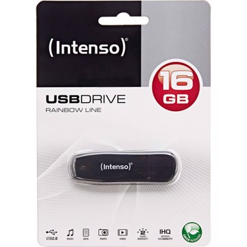 Picture of Intenso USB Drive 2.0 RAINBOW LINE 16GB Μαύρο