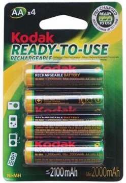 Εικόνα της Kodak AA 2100mAh Rechargeable Batteries 4 Pack KAAHRP